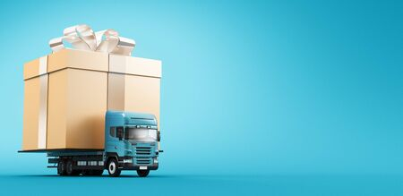 Present concept - Tir or truck carrying gift box. 3d rendering