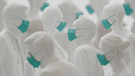 Virus or Coronavirus concept. People wearing face masks beacuse of flue outbreak. 3d rendering