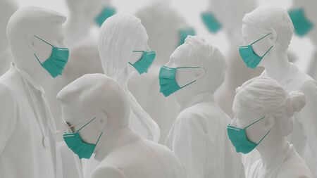 Virus or Coronavirus concept. People wearing face masks beacuse of flue outbreak. 3d rendering