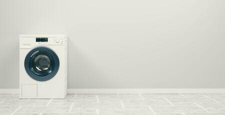 Washing machine on the white background, high resolution 3d rendering Foto de archivo