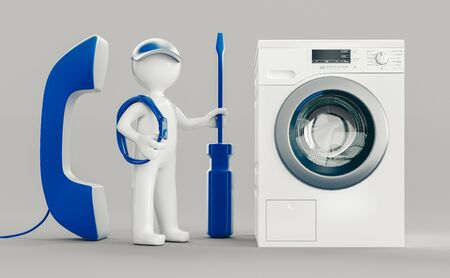 Washing machine repair. Assistance or maintenance concept. 3d rendering Фото со стока