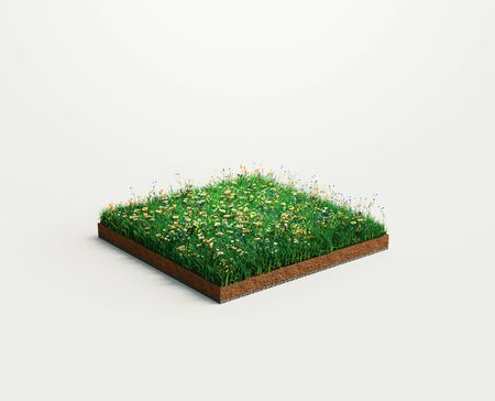 Ground or soil layers. Perspective empty space of green grass square isolated on white background. 3d rendering illustration