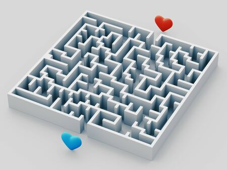 The complex world of emotions. Red heart hidden inside a maze. Love concept. 3d rendering illustration
