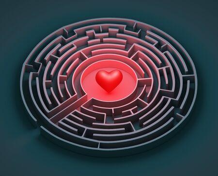 The complex world of emotions. Red heart hidden inside a maze. Love concept. 3d rendering