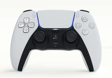 Japan - June 11, 2020. Presentation of a new product from Sony, wireless white PlayStation 5 gamepad on white background. 3d rendering