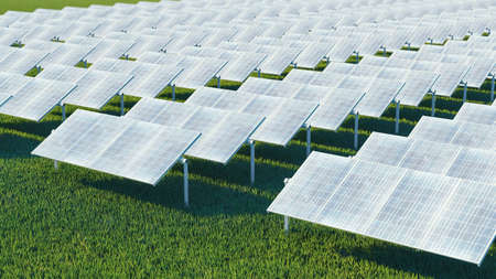 Station solar panels on a beautiful green lawn. For the generation of electricity. 3d rendering Standard-Bild