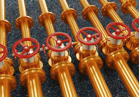 Oil or gas pipe line valves. Oil and gas extraction, production and transportation industrial background. 3d rendering