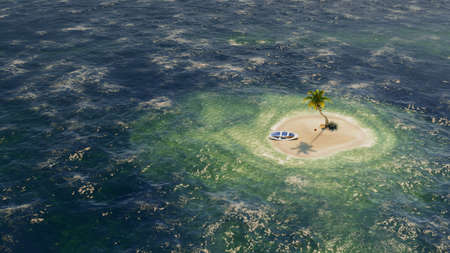 Uninhabited or desert island with palm trees on it in the shallow turquoise water. 3d rendering