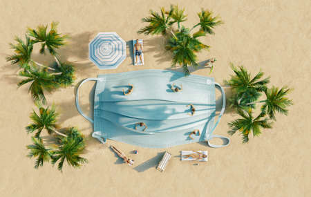 Ban on travel to summer vacation due to risk of virus with breathing mask on the beach, 3d rendering concept Standard-Bild