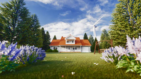 Beautiful house in the nature and wind turbins - concept of sustainable resources. 3d rendering