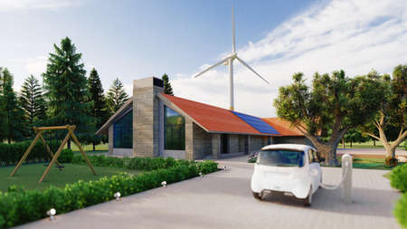 Beautiful house in the nature with solar panels and wind turbins. Electric car. Concept of sustainable resources. 3d rendering