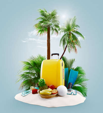 Suitcases with palms on the beach, island. Holiday or vacation concept. 3d rendering