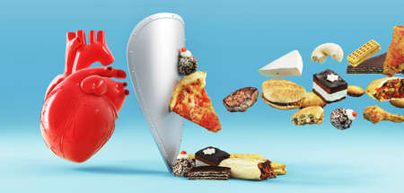Cholesterol diet and healthy food nutritional for cardiovascular disease prevention concept with junk food, human heart and protection shield. 3d rendering Standard-Bild