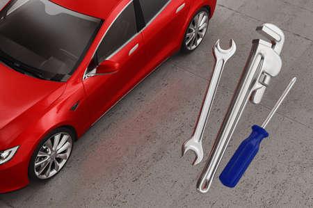 Red car and tools. Mechanic or repair concept. 3d rendering