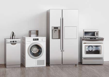 Kitchen household appliances, 3d rendering. Assistance concept