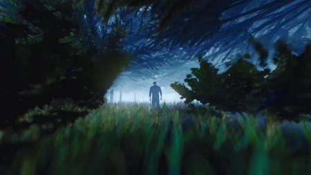 Man walking on a path in a strange dark forest with fog. 3d rendering Standard-Bild