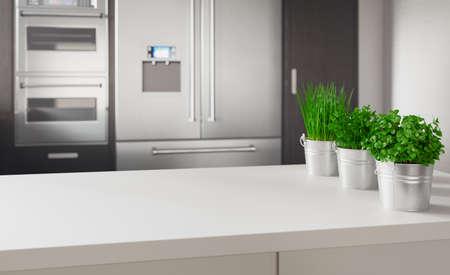 Modern kitchen with aromatics plants, 3d rendering