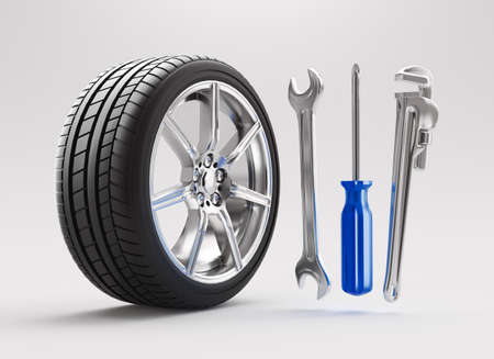 Car service, repair, maintenance concept changing tire. 3d rendering