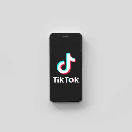 VERONA, ITALY - 21 AUG, 2020: Tik Tok application icon on Apple iPhone screen close-up. Tik Tok icon. Tiktok Social media network. 3d rendering
