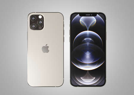 ITALY -01 NOVEMBER, 2020: Iphone 12 Pro smartphones on white background. Latest Apple Mobile iphones model. Illustrative editorial.