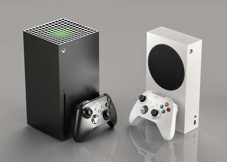 ITALY - 27 DECEMBER, 2020: new video game consoles: White Xbox Series S and Black Xbox Series X Sajtókép