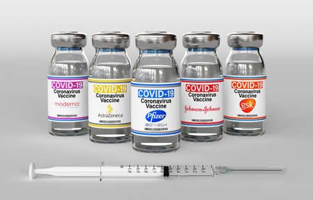 Milan, Italy: December 14, 2020: Vaccine vials and syringe with Pfizer, Moderna, AstraZeneca, Johnson, Gsk Inc logo. Covid-19 virus vaccine. 3d rendering
