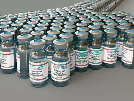 Covid 19 Corona Virus drug vaccine vials medicine bottles syringe injection. SARS-CoV-2 Vaccination, immunization, treatment to cure Covid 19 Corona Virus infection. Medical 3d rendering concept.