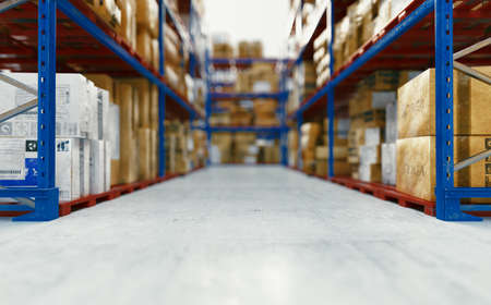 Warehouse or storehouse. Blurred background. 3d rendering