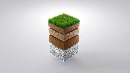 Ground or soil layers. Perspective empty space of green grass square isolated on white background. 3d rendering Stock fotó