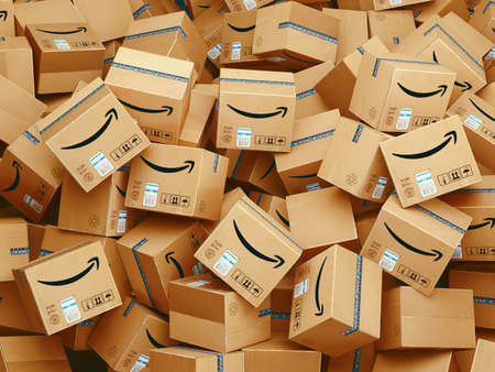 Milan, Italy: December 14, 2020: Lot of Amazon packages. 3d rendering