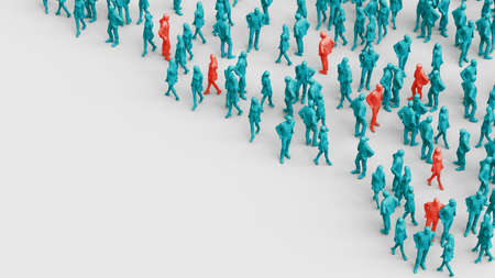 Red person in a crowd of people. High risk to spread disease viruses. Violations of self isolation and disastrous consequences. Pandemic concept. 3d rendering