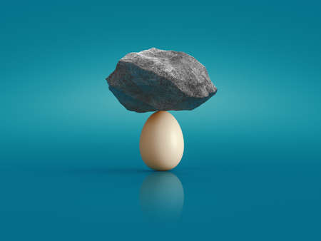 Concept about balance and strength, egg and stones on it. 3d rendering