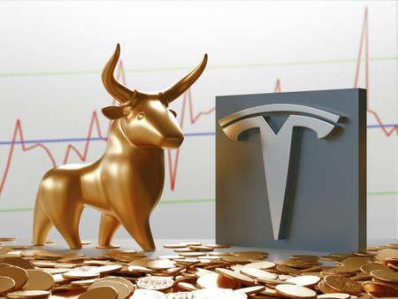 Milan, Italy: February 26, 2021: Tesla Motors logo and Bull Market Stock Chart. Economy Concept. Professional 3d rendering Editorial