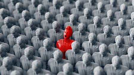 One Red standing Men screaming among Large Crowd grey people. 3d rendering Stock Photo