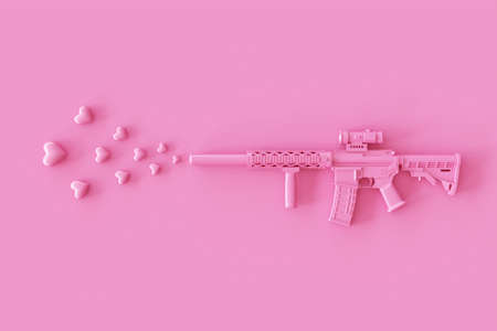 Love layout made with Weapon Pink Rifle Gun firing a Pink Heart shaped on a pink background. Valentines or Romantic Concept. 3d rendering