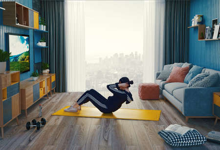 Young woman exercising at home, stretching legs. 3d rendering Stock fotó