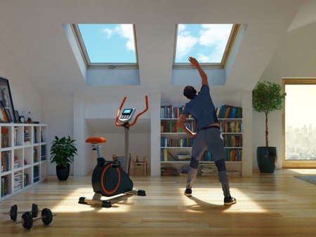 Man exercising at home, stretching legs. 3d rendering