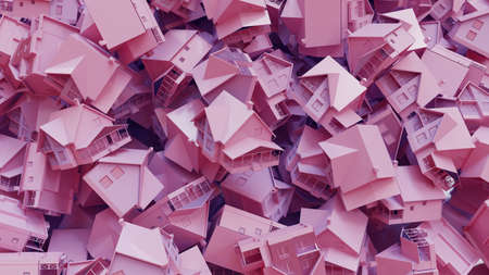 Many pink or violet houses, concept invesetment. 3d rendering