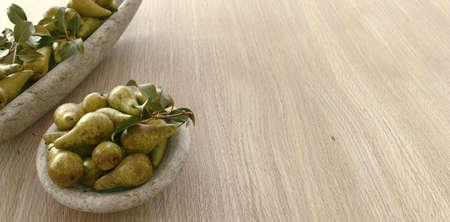 Fresh ripe organic pears on rustic wooden background. Vegetarian, vegan, healthy diet food. Selective focus. 3d rendering
