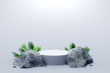 White podium with Rocks and Plants on white background, 3d rendering