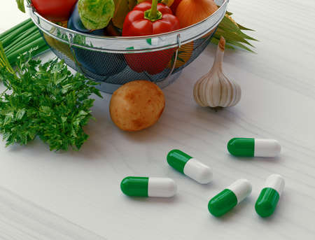 Concentrated Fiber Capsules with Fresh vegetable Salad background. Conceptual photo to choose between herbal medicine or real veggies to support Digestive system. 3d rendering Stock Photo