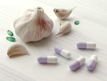 Garlic Herbs with alternative medicine herbal supplements and pills. 3d rendering