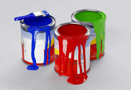 Multicolored Paint Cans on White. 3d rendering