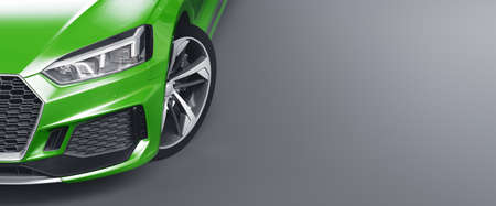 Closeup headlights of Car. Exterior detail with headlights of car. Modern luxury car banner background. Concept of expensive, sports auto. 3d rendering