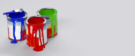 Banner. Multicolored Paint Cans on White. 3d rendering 免版税图像