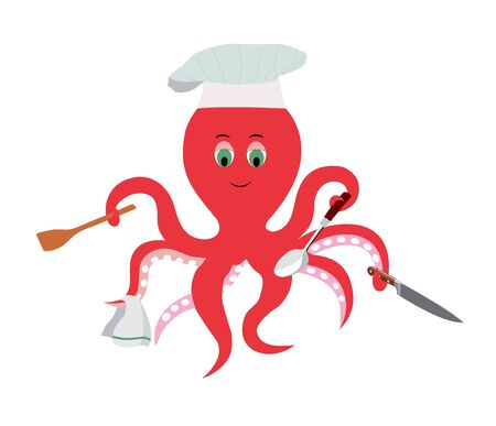 vector illustration of an octopus cook, professional cook, catering establishment, fast food restaurant sign concept, food service sign