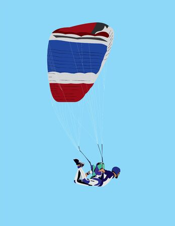 skydiver vector illustration, parachuting, parachutist, wing, swooper