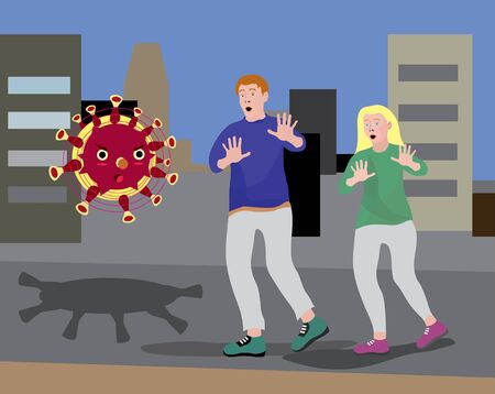 vector illustration of a comic coronavirus attacking a girl and a guy in the city, covid-19, epidemic, infection, fear, fight