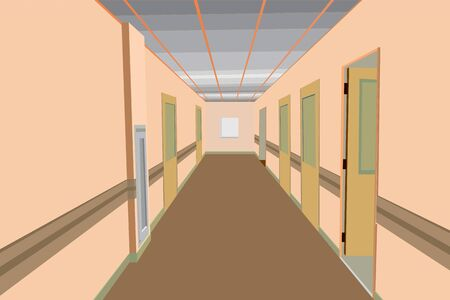 vector illustration concept of empty office, hospital corridor, building interior, polyclinic corridor