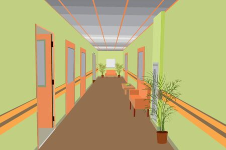 vector design of the interior of the corridor in the office building, hospital, clinic, hotel, room design, office corridor Vettoriali